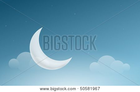 Vector night sky landscape with crescent moon. Elements are layered separately in vector file.