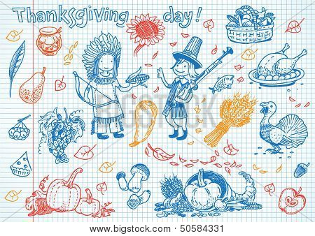 Thanksgiving day fun doodles