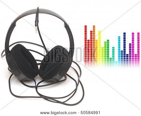 image of graphic equalizer and head phones, music concept