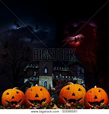 Halloween, pumpkins and Hallowe'en scenery