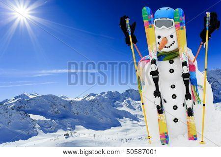 Ski, snowman and winter fun
