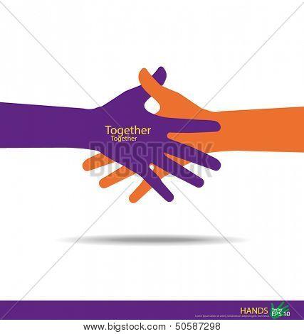 Apretón de manos, trabajo en equipo insignia de manos. Ilustración del vector.