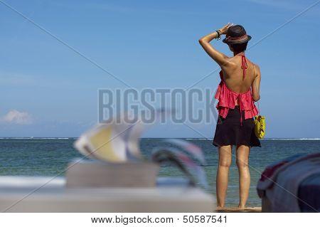 Leisure Reading On Beach