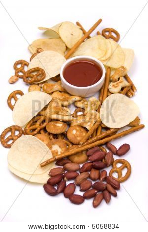 Chips And Salty Snacks Isolated On White