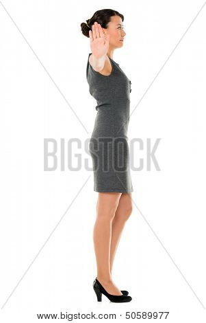 Indifferent business woman - isolated over a white background