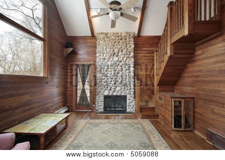 Wood Paneled Family Room