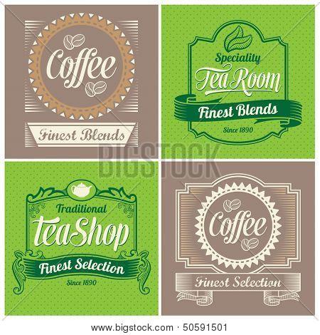 Vintage labels, ribbons and banner vector designs