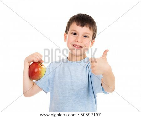 boy with apple on white