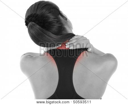 Young girl and pain in neck isolated on white