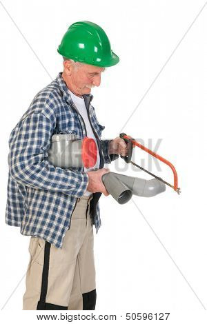 Plumber reparing the sewerage isolated over white background