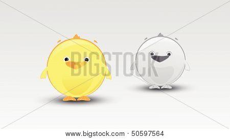 Little Cartoon Chicken in Vector