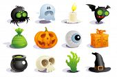 stock photo of halloween  - Halloween symbols collection - JPG