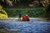 picture of martha  - River Boat with tourists on Martha Brae River in Jamaica - JPG