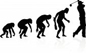 image of darwin  - illustration of depicting the evolution of a male from ape to man to Golf player in silhouette - JPG