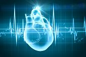 pic of electrocardiogram  - Virtual image of human heart with cardiogram - JPG