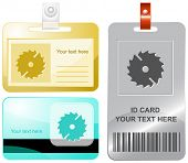 Circ saw. Vector id cards.