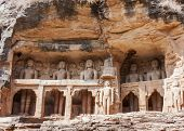 Gwalior, India - Feb 2011: Collection Of Giant Jain Figures Carved Out Of Gwalior's Rock In India.