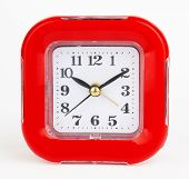 picture of tick tock  - red alarm clock on a white background - JPG