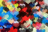 foto of girly  - Colorful hearts pattern abstract grungy illustration - JPG