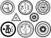 stock photo of magickal  - Various alchemy symbols and magickal sigilia or seals in vector format - JPG