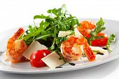 stock photo of tiger prawn  - Tiger Prawns and Rucola  with Parmesan Cheese and Cherry Tomato - JPG