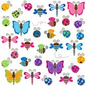 picture of bumble bee  - Large Vector Collection of Patchwork and Baby Shower Themed Bugs - JPG