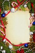 picture of candy cane border  - Beautiful blank card for christmas greetings with decoration - JPG