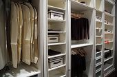 stock photo of wardrobe  - Modern interior of Wardrobe on light color - JPG