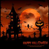 stock photo of bat  - Halloween night background with pumpkin and full moon - JPG