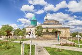foto of rumi  - Tomb of Mevlana the founder of Mevlevi sufi dervish order with prominent green tower in Konya Turkey - JPG