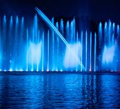 stock photo of vinnitsa  - Musical fountain with colorful illuminations at night - JPG