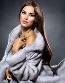 foto of mink  - Beauty Fashion Model Girl in Blue Mink Fur Coat - JPG