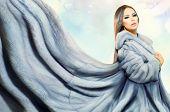 pic of mink  - Beauty Fashion Model Girl in Blue Mink Fur Coat - JPG
