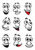 stock photo of angry smiley  - Set of funny comic faces in cartoon style for design - JPG