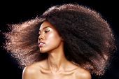 picture of think positive  - Beautiful Stunning Portrait of an African American Black Woman With Big Hair - JPG