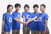 stock photo of medium-  length hair  - Five young people in recycling t - JPG