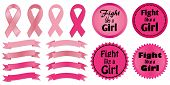 stock photo of mammogram  - Breast Cancer Awareness ribbons and Fight like a Girl stickers in various shades of pink - JPG
