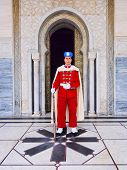 Royal Guard In Front Of The Mausoleum Of Mohammed V In Rabat