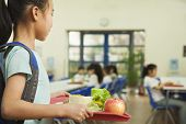 stock photo of canteen  - School girl holding food tray in school cafeteria - JPG