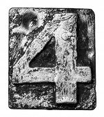 image of alloy  - Metal alloy alphabet number 4 - JPG