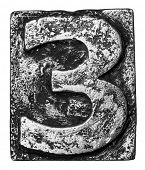 foto of alloy  - Metal alloy alphabet number 3 - JPG
