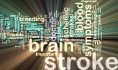 foto of hemorrhage  - Word cloud tags concept illustration of stroke glowing neon light style - JPG