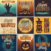 stock photo of jack o lanterns  - Halloween Posters set - JPG
