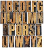 stock photo of wood  - complete English alphabet  - JPG
