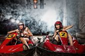 foto of karts  - girl is driving Go - JPG
