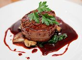 picture of bacon  - Tenderloin steak wrapped in bacon with demi - JPG