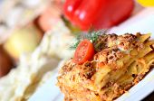foto of lasagna  - The Italian lasagna on a white  plate - JPG