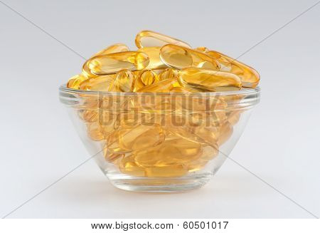 Omega 3 Gel Capsules Isolated On White Background