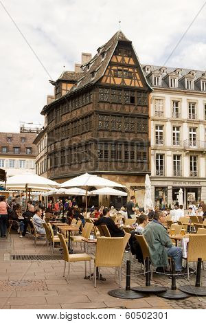 Open-air Cafe On The Cathedral Square In The Centre Of Strasbourg