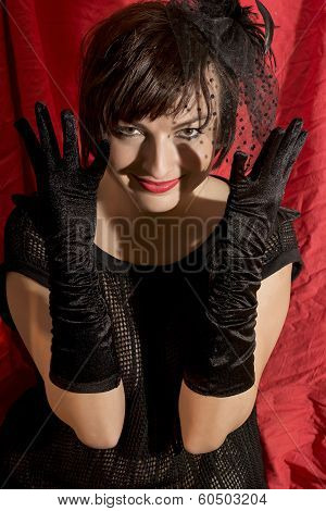 Cheerful Seductive Woman With Black Gloves